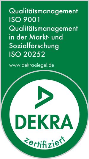 DEKRA Siegel ISO Zertifizierungen 9001 und 20252 - phaydon Marktforschung