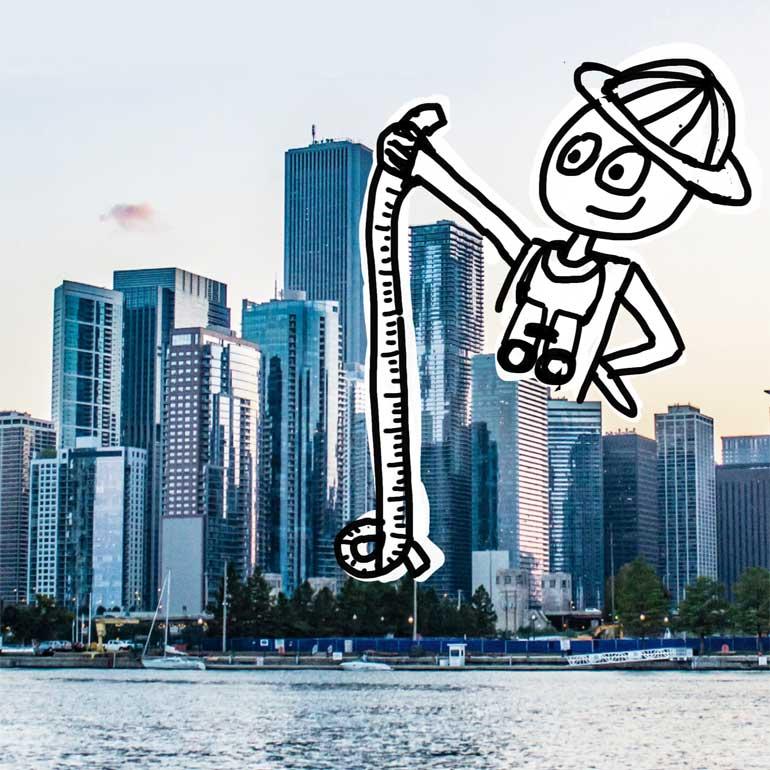 Sketchnote Figur misst Wolkenkratzer mit einem Maßband