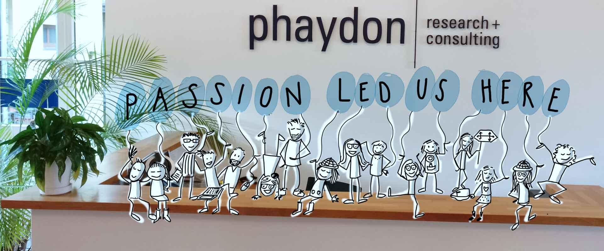 Sketchnote 'passion led us here' - Referenzen phaydon Marktforschung