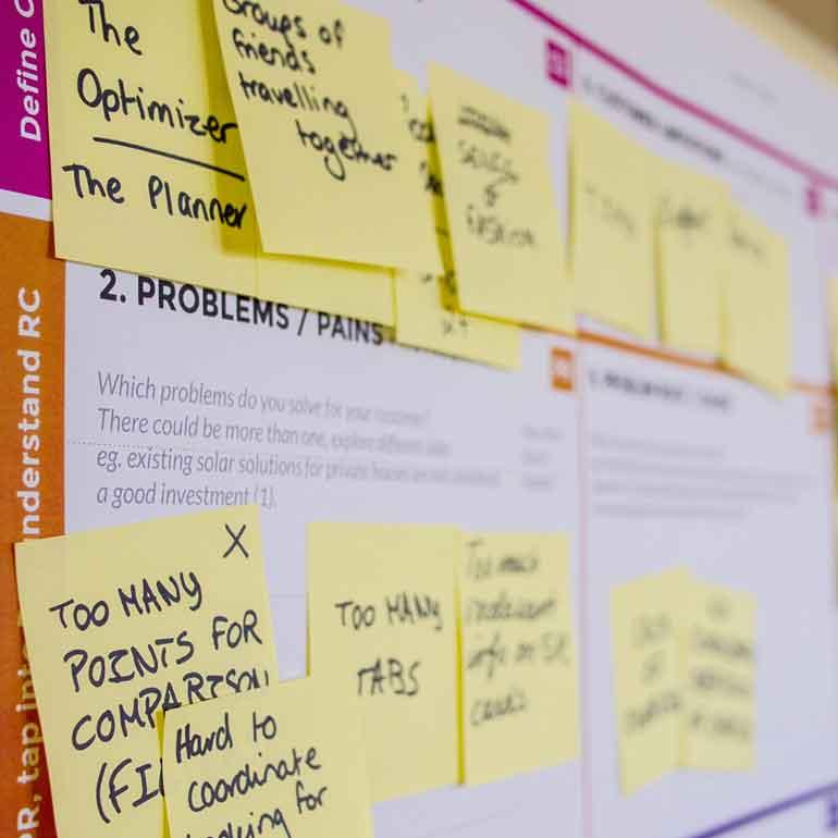 Whiteboard-Motiv zur Produktentwicklung / Marktforschungsstudie